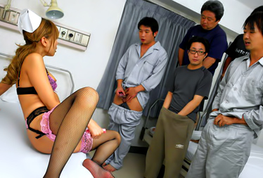 Nurse Aya in sexy lingerie fucked in a crazy gangbang